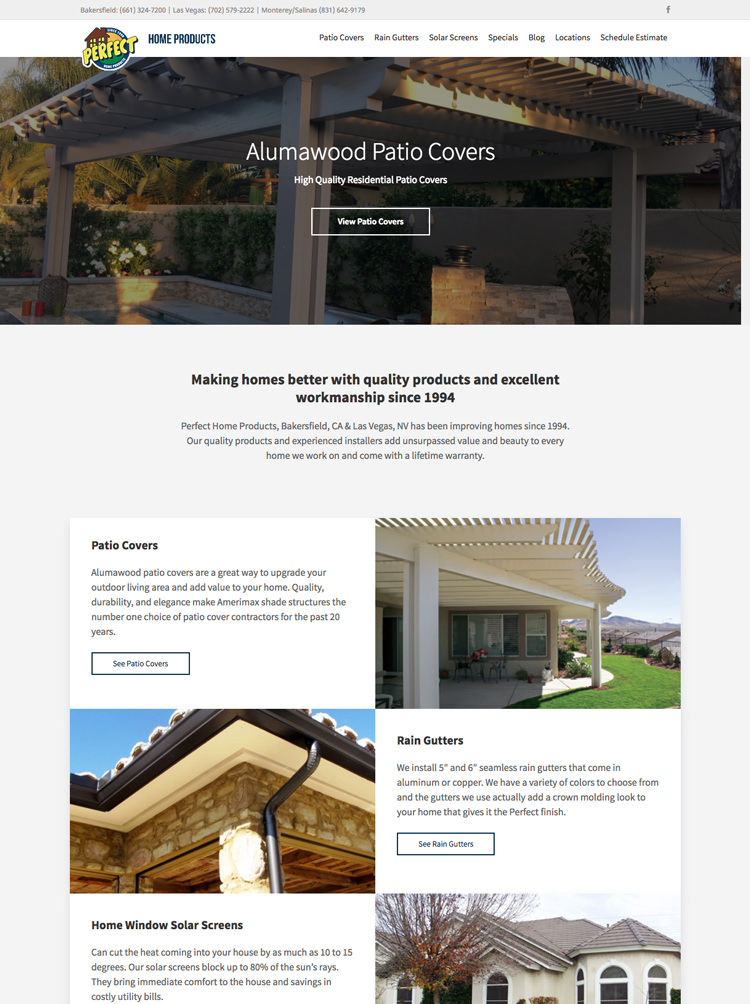 Web Design company specializing in patio cover and landscape companies