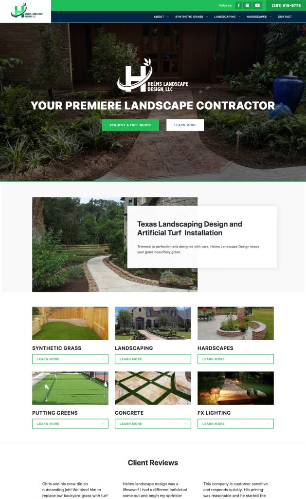 Web site design for Landscape industry.